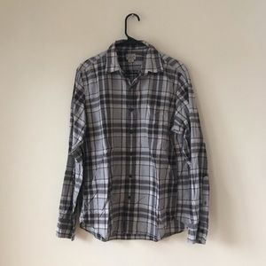 J. Crew Gray Checkered Long Sleeve Shirt